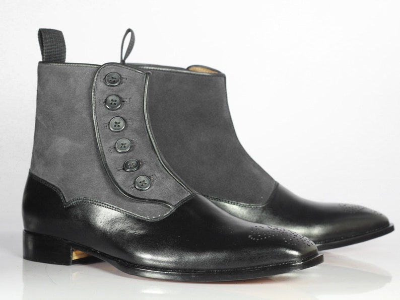 Edwardian Men's Shoes & Boots | 1900, 1910s     Mens Handmade Black & Grey Leather Suede Boots Men's Cap Toe Button Boots $144.99 AT vintagedancer.com