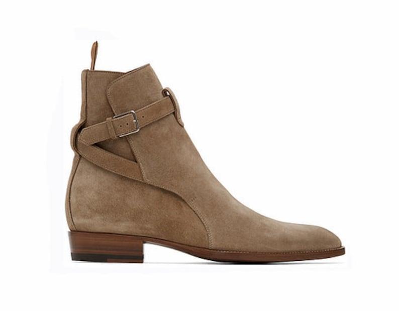 1930s Men's Shoe Styles, Art Deco Era Footwear     Handmade Men Jodhpurs Formal Beige Color Boots Men's Ankle High Boots $124.99 AT vintagedancer.com
