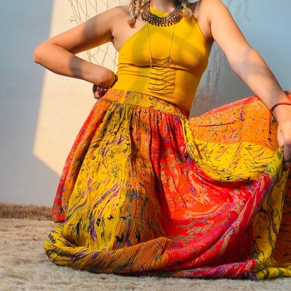 Vintage Gorgeous Abstract Maxi Skirt - image 7