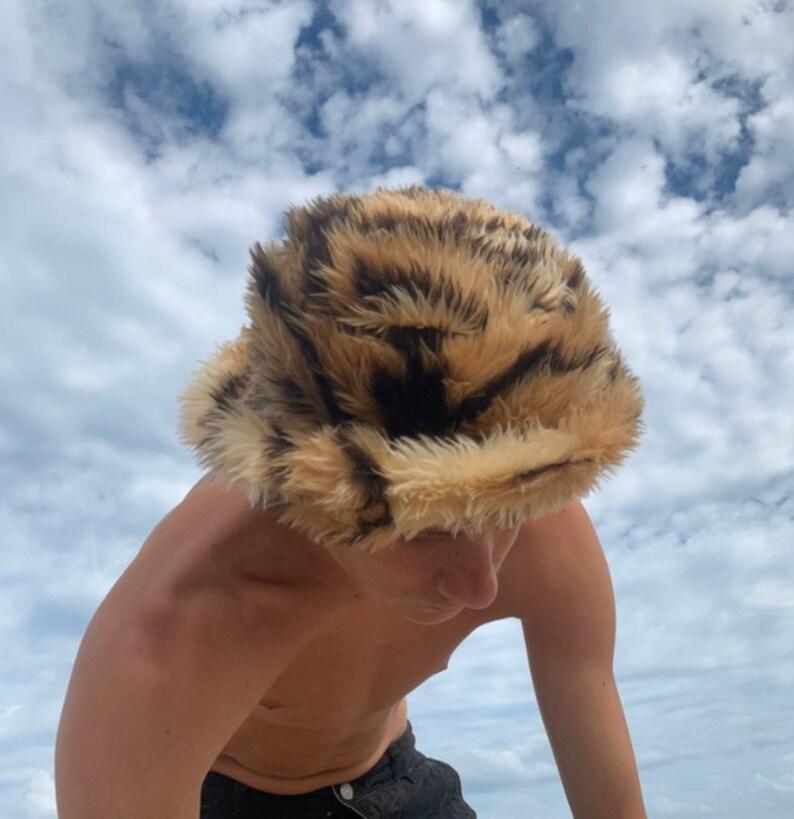 Tiger Print Fluffy Buckethat