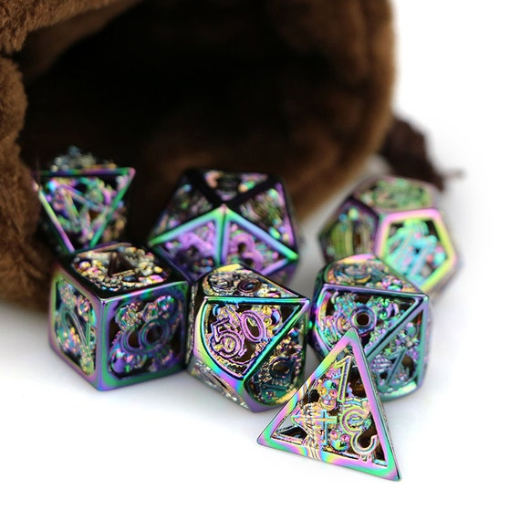 Hollow out dnd dice metal dnd dice set  dungeons and dragons  RPG dice  polyhedral dice set  rainbow dice  D20 D12 D10 D8 D6 D4