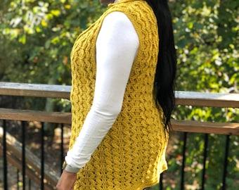 Crochet Cable Vest, Making Waves Waistcoat, Plus Size Crochet Vest, Instant Download