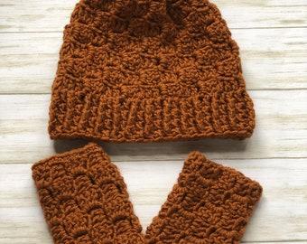 Acorn Hat & Fingerless Mitts, C2C hat, C2C fingerless mitts, instant download