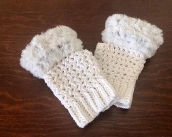 Ashley Faux Fur Mitts, Fingerless Gloves, Crochet Pattern, Instant Download