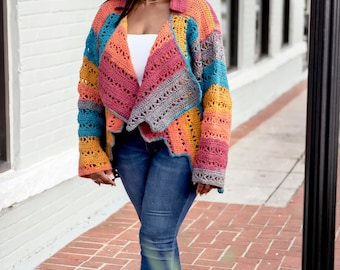 X-capade Cardigan, Size Inclusive Crochet Cardigan, Instant Download, Crochet Pattern