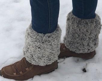 Faux Fur Ankle Warmers, Crochet Pattern, Instant Download