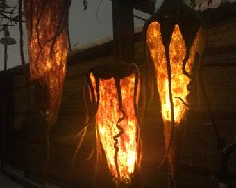 beautiful shining felt-pen felted lamp Large Filzlampe