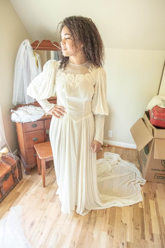 Vintage Crushed Velvet Wedding Dress