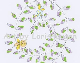 Circle Birds Swirl Giclee Art Print