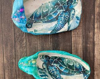 Decoupage Oyster Shell - Embellished Sea Turtle - Ocean Ring Dish - Coastal Home Decor- Wedding Favors