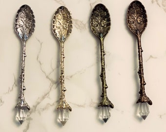 Magical Crystal Witch Spoon - Tea Spoon - Engraved Mini Spoon For Herbs - Altar Spoon