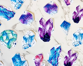 10 pack Watercolor Matte Crystal Stickers - Gems Sticker Set - Journaling Stickers Pack - Spell Crystal Sticker Set
