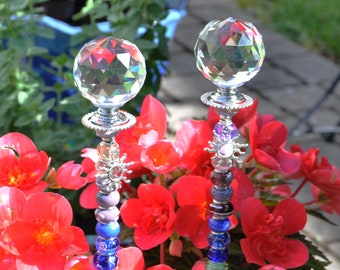 Crystal Chakra with Sun Charm Beaded Plant Stake, Fairy wand, Decorative Garden Stake