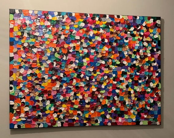 DIVERSITY/ALL COLORS pallets knife textured Painting/our world of color/abstract contemporary unique stretched canvass modern art/30x40