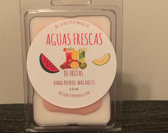 AGUAS FRESCAS de FRUTAS wax melts/fruity wax melts/tropical scented wax melts/Hispanic inspired wax melts/Latin inspired wax tarts/wax tarts