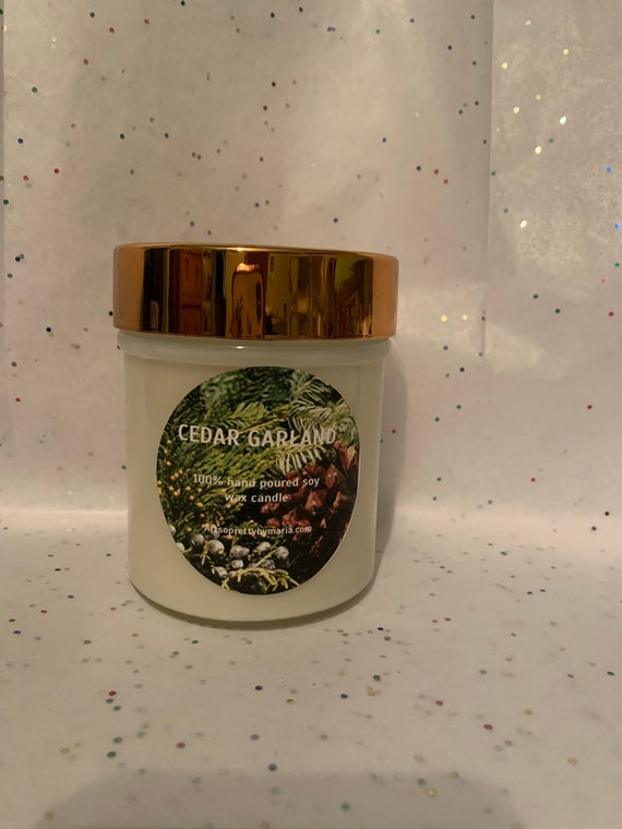 CEDAR GARLAND scented soy wax candle/holiday candle/Christmas candle/scented soy wax candle/best selling holiday candle/10 oz jar