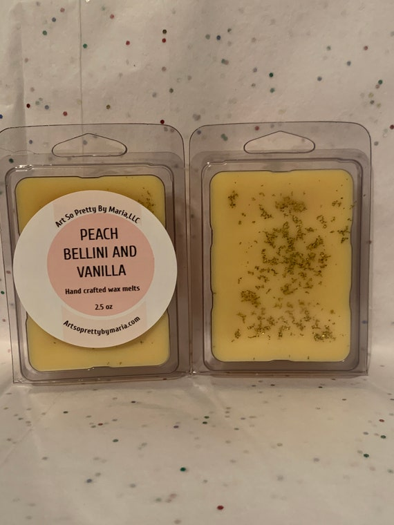 PEACH BELLINI VANILLA scented wax melts/peach Bellini wax tarts/best selling wax melts/gift for mom/highly scented wax melts/wax melts/2.5oz