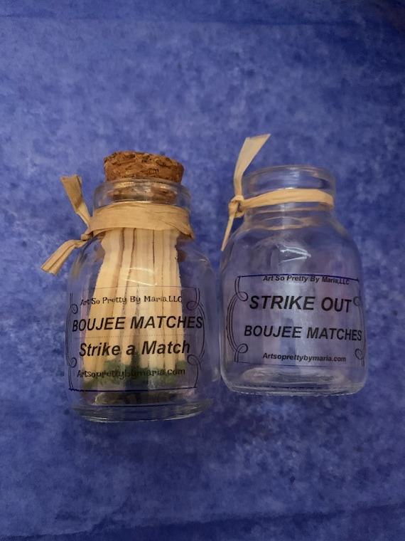 BOUJEE strike a match set/BOUJEE matches/glass jar with matches and striker and jar to dispose your matches/matchstick jar fancy matches