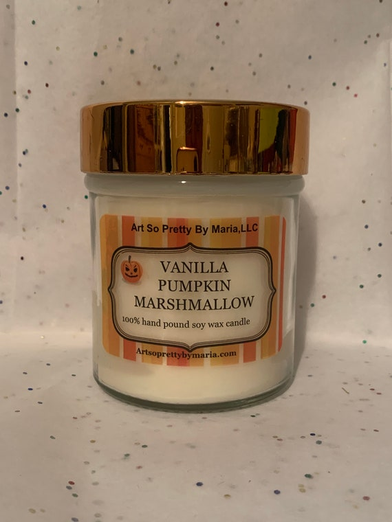 VANILLA PUMPKIN MARSHMALLOW scented soy wax candle/holiday candle/fall candle/ sweet candle/vanilla pumpkin marshmallow candle/10oz jar
