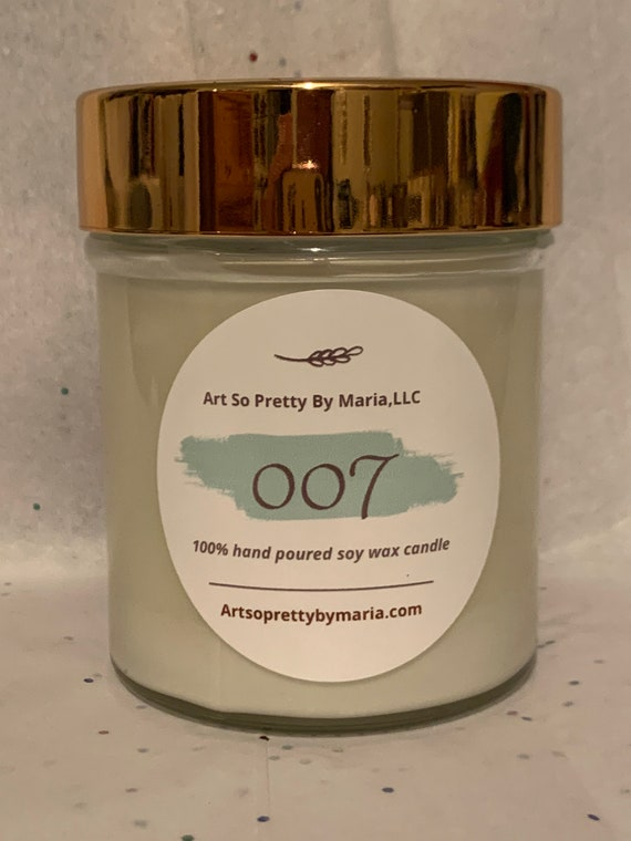 007 sexy masculine elegant scented soy wax candle/gift for him/scented soy wax candle/masculine candle/sexy candle/unique candle/fun candle