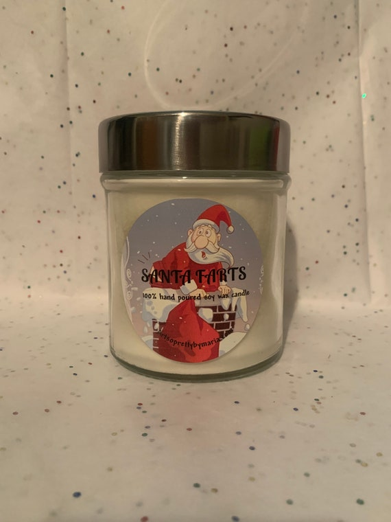 SANTA FARTS scented soy wax candle/holiday candle/Christmas candle/fun candle/funny candle/gift for friend/best selling candle/10 oz jar