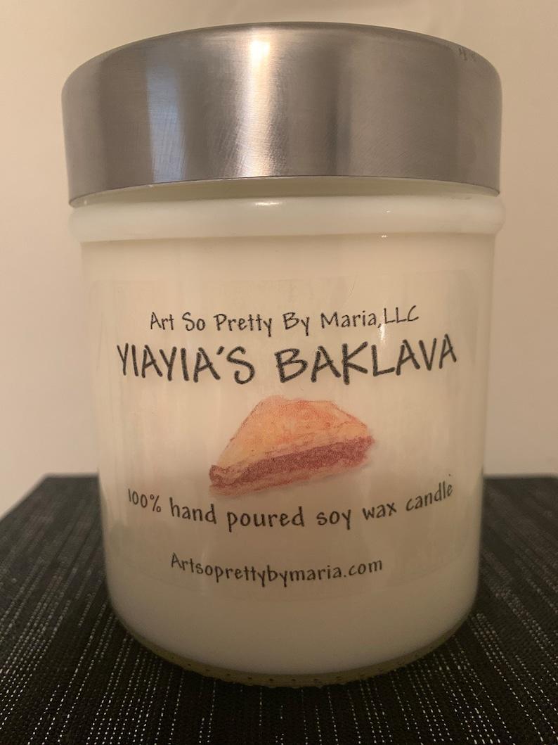 YIAYIA\u2019S BAKLAVA highly scented soy wax candlesweet candleGreek Candleholiday candlegift for momdessert candleBAKLAVA candle10oz