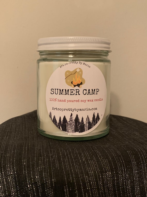 SUMMER CAMP/MARSHMALLOW Vanilla scented soy wax candle/summer fun candle/roasted marshmallow candle/gift for her/best selling/9 oz jar