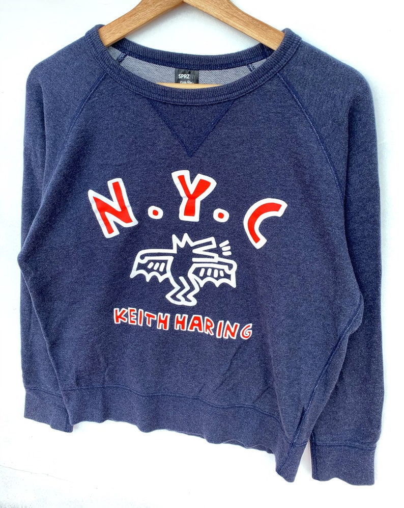 PICK! Keith Haring Sweatshirt Jumper Keith Haring Crewneck Jumper Keith Haring Sweater NYC Big Logo Spellout Size M