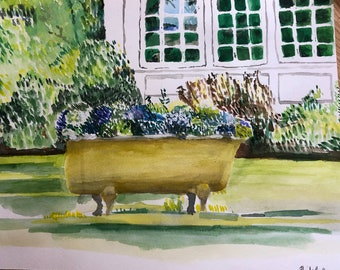 Hydrangeas in Bathtub on Lawn Watercolor painting