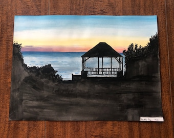 Brewster Park Cape Cod Sunset House Watercolor Painting
