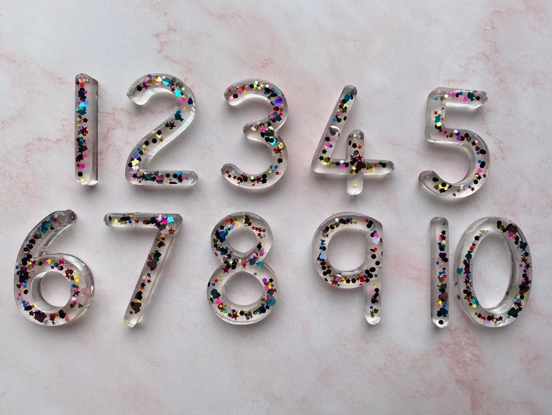 Extra large resin numbers-large number set-chunky glitter number set-educational resources