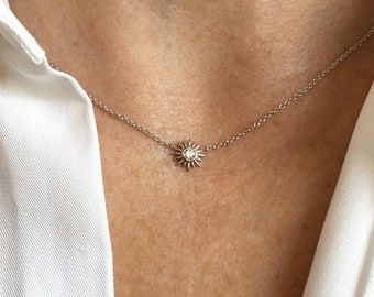 Star Necklace, Sterling Silver Starburst Necklace, Celestial Necklace, Dainty Necklace, Cubic Zirconia Star Necklace