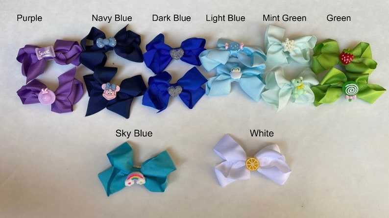 Classic Loop Bow Pack of Bows Bow Sets Bows with Fun and Colorful Charms! 3 inch Hair Bow 3 inch Kids Bows Boutique Bows