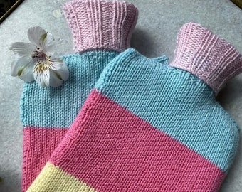 Pastel Stripe Knitted Hot Water Bottle Cover | Hand Knitted Hot Water Bottle Cover (With or Without Bottle) | Rainbow Water Bottle Cosy