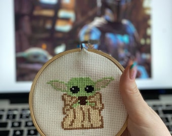 Hand Made Decorative Baby Yoda Embroidered Art - Gift for Him - Gift for Her