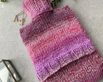 Flossy - Pink Stripe Hot Water Bottle Cover | Hand Knitted Hot Water Bottle Cover (With or Without Bottle) | Hot Water Bottle Cosy
