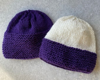 Purple and White Knitted Newborn Hat Set and Purple Newborn Knitted Jumper | Purple Hand Knit Baby Set Hats & Jumper | Baby Hat Jumper Set