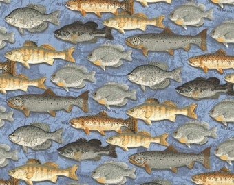 Fish on blue cotton fabric- by the yard, quarter cuts, continuous cuts- fast shipping!