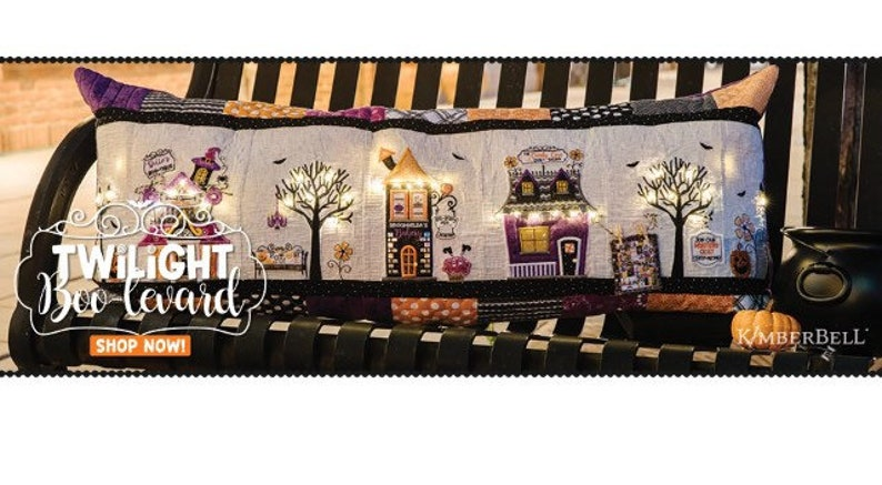 Twilight Boo-Levard Bench Pillow KimberBell Designs-KD594 EMBROIDERY CD version