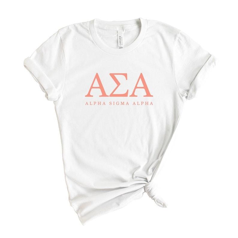 Alpha Sigma Alpha T-Shirt Alpha Sigma Alpha Sorority Gift Idea Alpha Sigma Alpha Colored Block Letters Shirt
