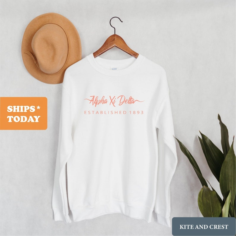 Alpha Xi Delta Sorority Gift Idea AXID White Script Letter Crewneck Sweatshirt Alpha Xi Delta Sweatshirt