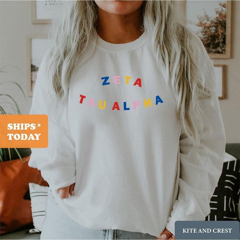 Circular Colorful Crewneck Sweatshirt Zeta Tau Alpha Sweatshirt ZTA Zeta Zeta Tau Alpha Sorority Gift Idea