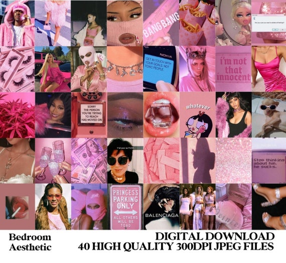 Pink Baddie Aesthetic Wall Collage Kit Digital Etsy