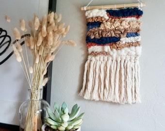 Woven Wall Hanging Navy Rust Cream Tan Vegan Leather, Textured Wall Art, Tapestry Weave, Woven Wall Hanging, Boho Wall Decor, Textile Wall
