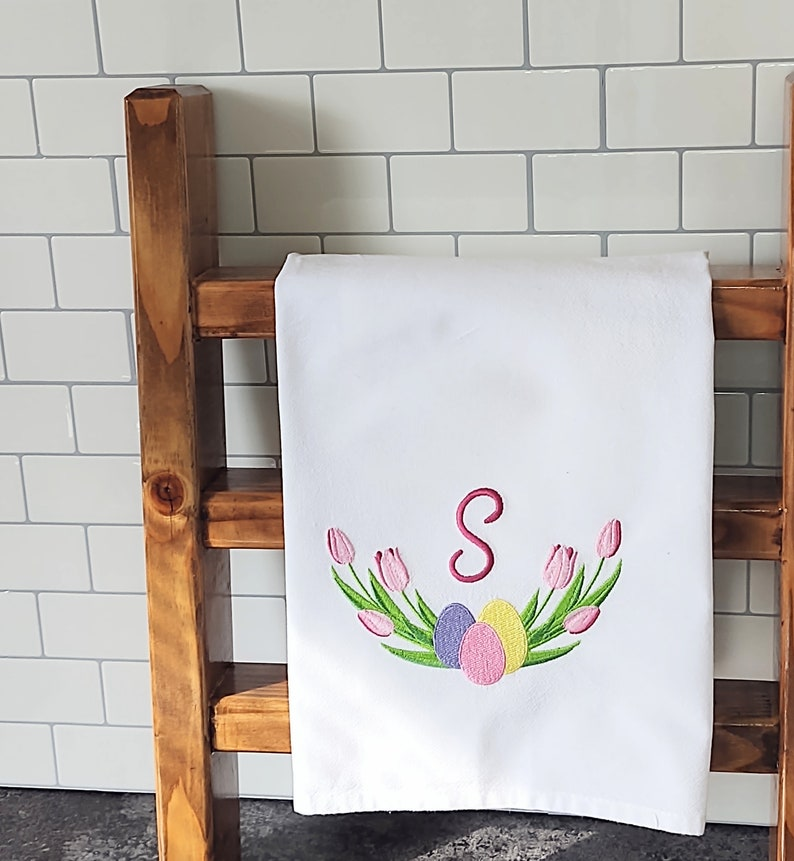 Custom Towel Easter Towels Embroidered Spring Towels Flour Sack Dish Towel Personalized Embroidered Tulips Embroidered Tea Towels,