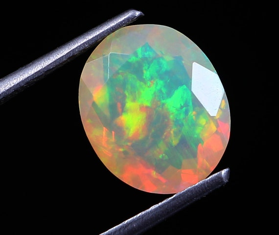 Made For Jewelry On SALE  Natural Ethiopian Opal Oval Cut Opal Faceted Cut Cabochon |Play Of color Opal Cut Cabochon 12 X 9 MM size