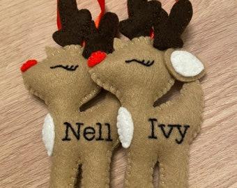 Personalised Felt Christmas Tree Decoration   Reindeer