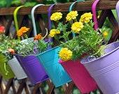 Hanging flower Pots Hook - Hang to fence, wall, standing pots Garden decor, Succulents, potted plants, dried flowers indoor outdoor bucket