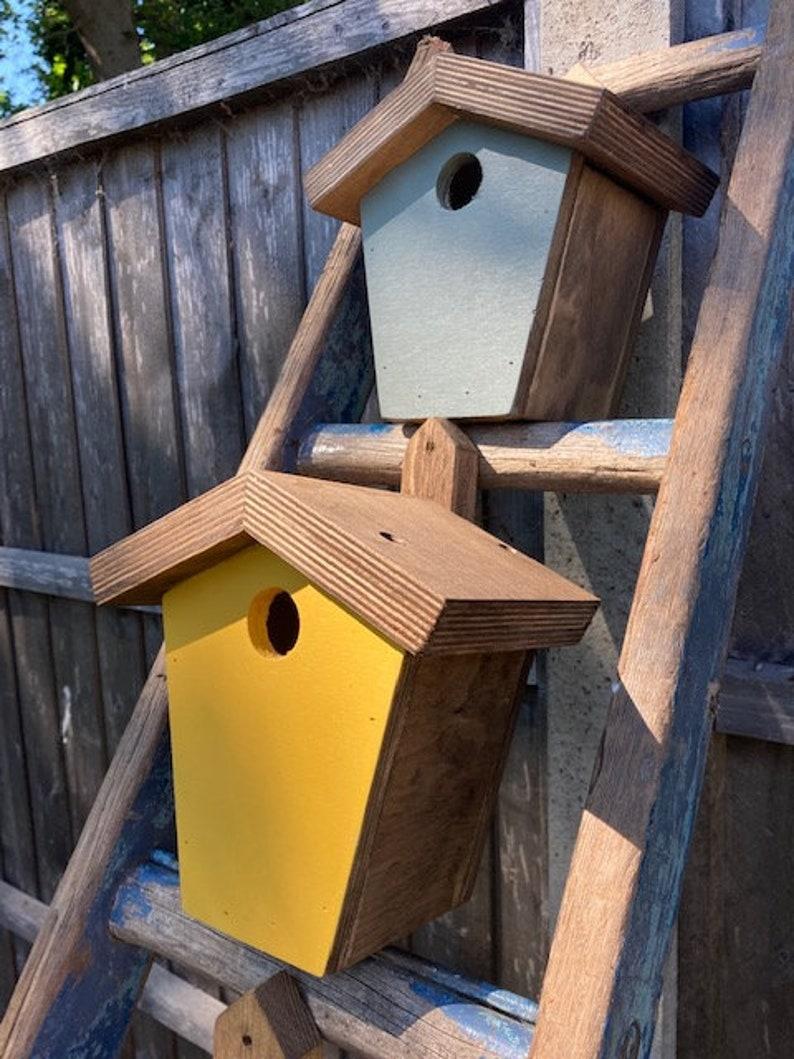 Painted handmade birdhouses nesting boxes solid wood Sunshine yellow