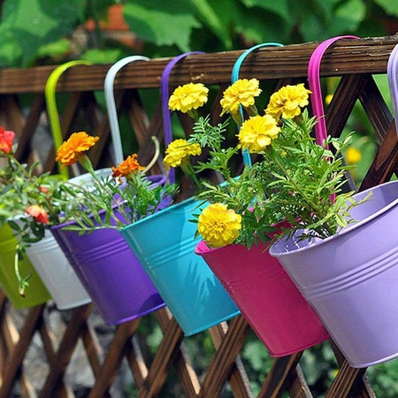 Hanging flower Pots & Hook  Hang to fence wall standing image 0
